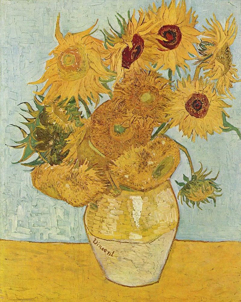 Girasoles de Van Gogh de tonalidades cálidas