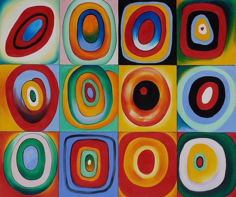 Cuadro de Kandinsky pintado con colores cálidos