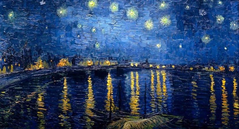 Cuadro de la Noche estrellada pintado con colores fríos