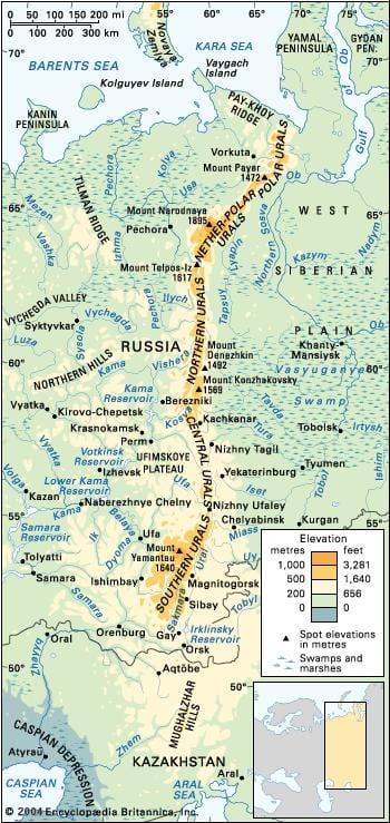 Mapa de los Urales