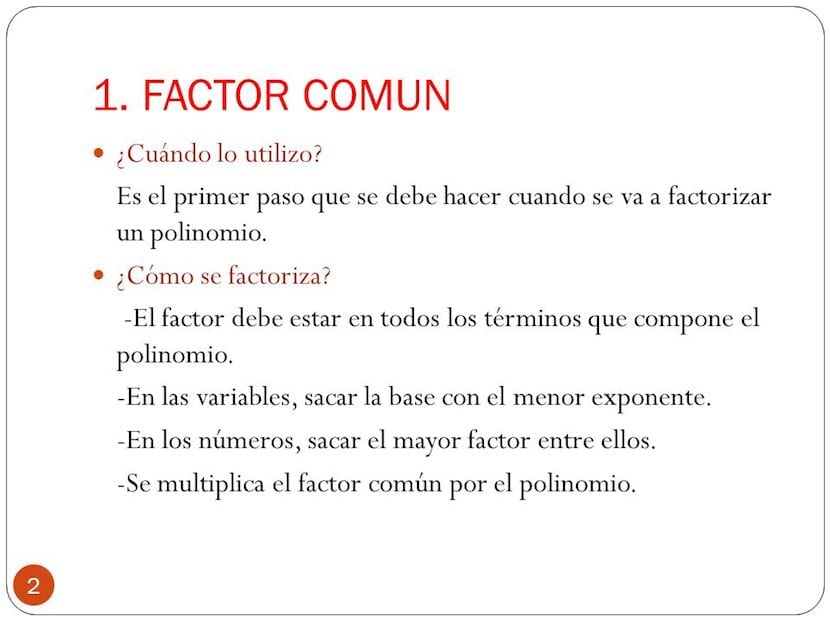 Factorizar polinomios con factor común