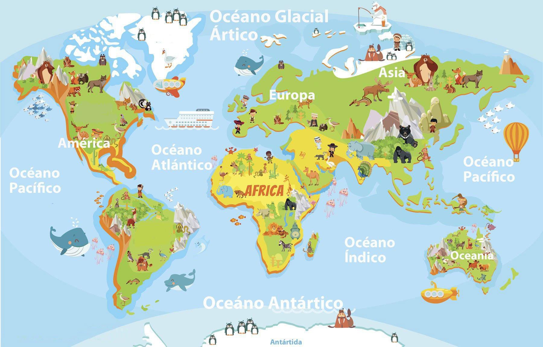 Colorear NiÑos Del Mundo: Mapamundi Para Descargar E Imprimir Gratis